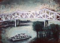 Landscape Painting - The Scott W. Lucas Bridge  by Sherry Hutson