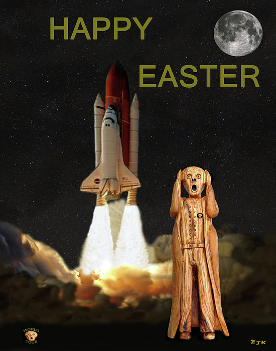 The Scream Mixed Media - The Scream World Tour Space Shuttle Happy Easter by Eric Kempson