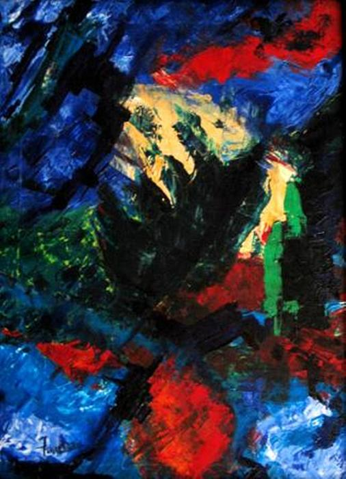 Abstract Painting - The Screaming Gulf by Fareeha Khawaja
