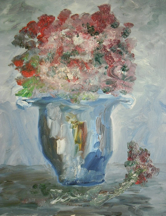 Still Life Painting - The Silver Swirl Vase by Edward Wolverton