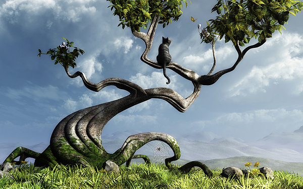 Whimsical Digital Art - The Sitting Tree by Cynthia Decker