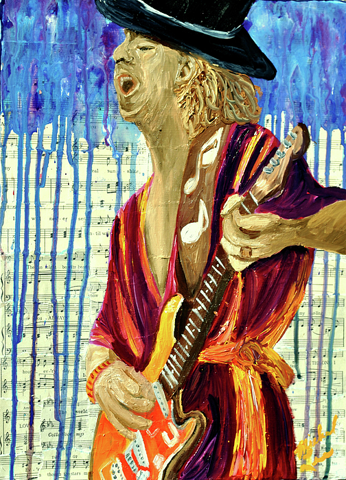 Guitar Player Painting - The Sky Is Crying by Michael Lee