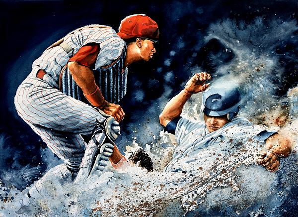 Baseball Painting - The Slide by Hanne Lore Koehler