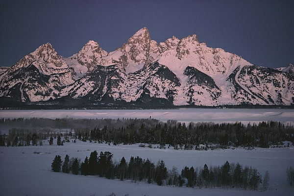 Outdoors Photograph - The Snowcapped Grand Tetons by Dick Durrance Ii