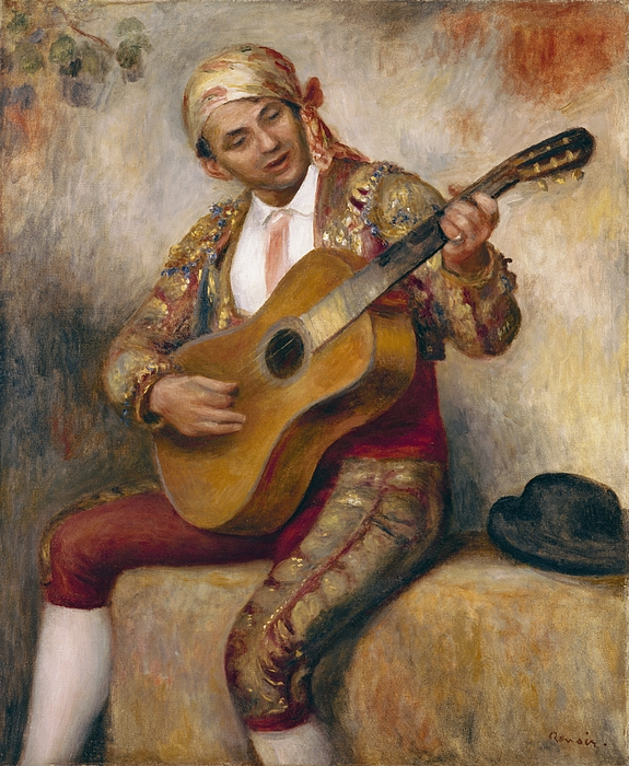 The Painting - The Spanish Guitarist by Pierre Auguste Renoir