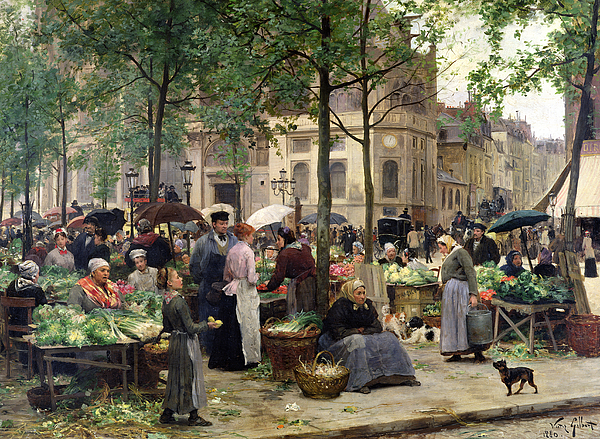 The Square In Front Of Les Halles Painting - The Square In Front Of Les Halles by Victor Gabriel Gilbert
