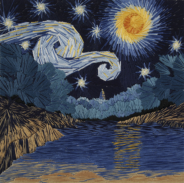 Impressionism Tapestry - Textile - The Starry Night At Barton Springs by Barbara Lugge