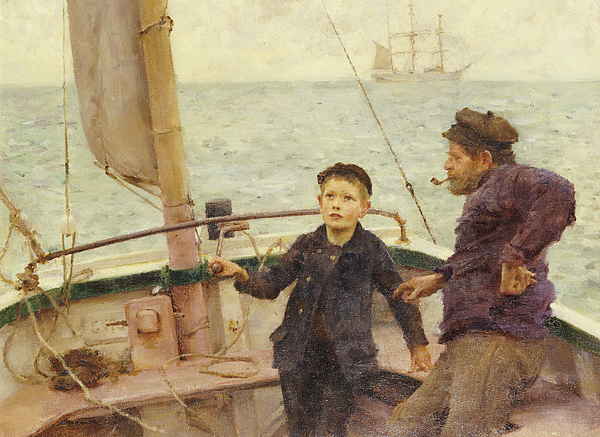 Lesson Painting - The Steering Lesson by Henry Scott Tuke