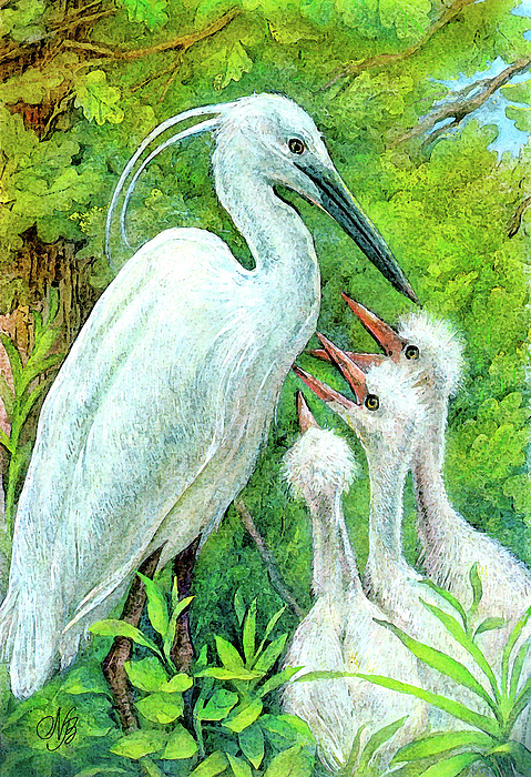 Bird Painting - The Stork - A Symbol Of Childbirth by Natalie Berman