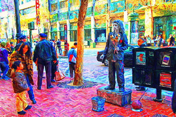 Market Street Photograph - The Street Performer . Photo Artwork by Wingsdomain Art and Photography