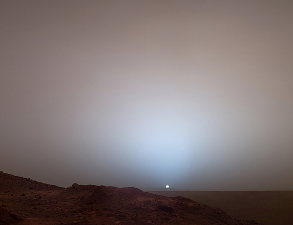Outdoors Photograph - The Sun Setting Below The Rim Of Gusev by Nasa