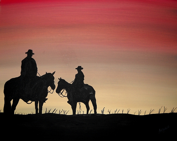 Sunset Painting - The Sunset Cowboy by Edwin Alverio