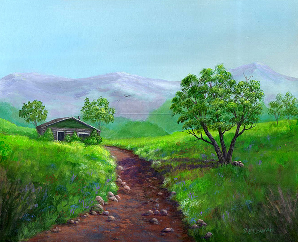 Landscape Painting - The Trappers Cabin by SueEllen Cowan