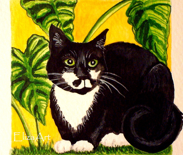 Watercolor Painting - The Tropical Cat by Elizabeth Robinette Tyndall