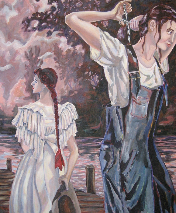 Lake Painting - The Two Louisa Fletchers In The Land Of Beginning Again by Tyler Alpern