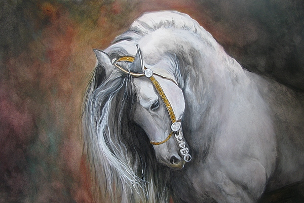 Andalusian Horse Painting - The Unreigned King by Nonie Wideman