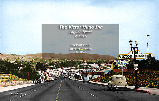Digital Painting - The Victor Hugo Inn Laguna Beach C1945 By Melvin Hale Artistla by Melvin Hale PhD - ArtistLA