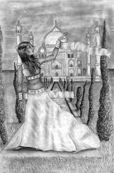 Taj Mahal Drawing - The View by Scarlett Royal