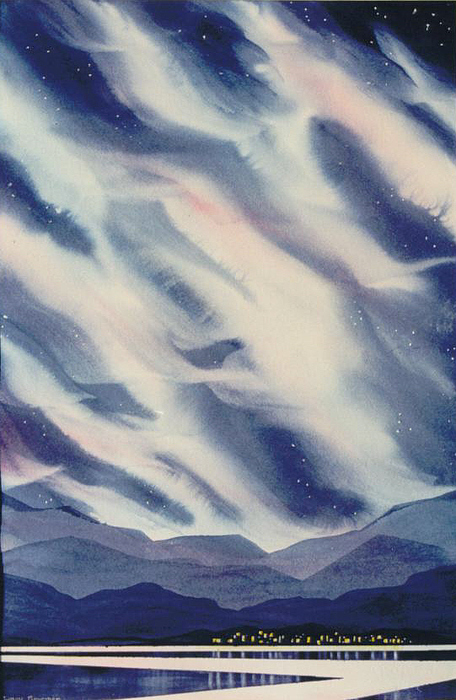 Northern Lights Painting - The-village by Nancy Newman