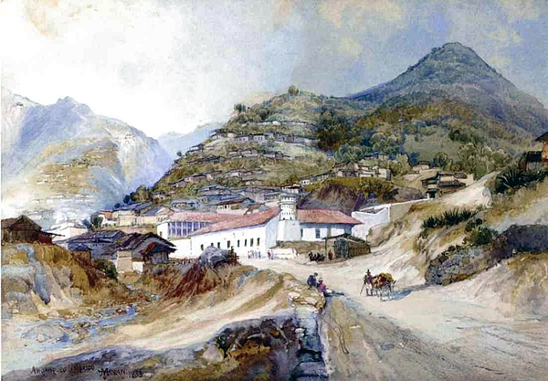 The Village Of Angangueo Painting - The Village Of Angangueo by Thomas Moran