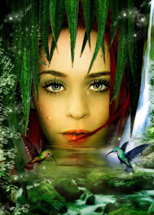 Gaia Digital Art - The Water Bearer by Julie L Hoddinott