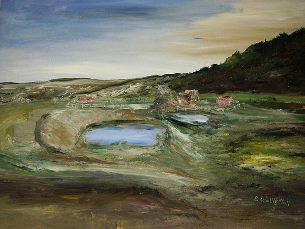 Landscape Painting - The Water Hole Ranch by Edward Wolverton