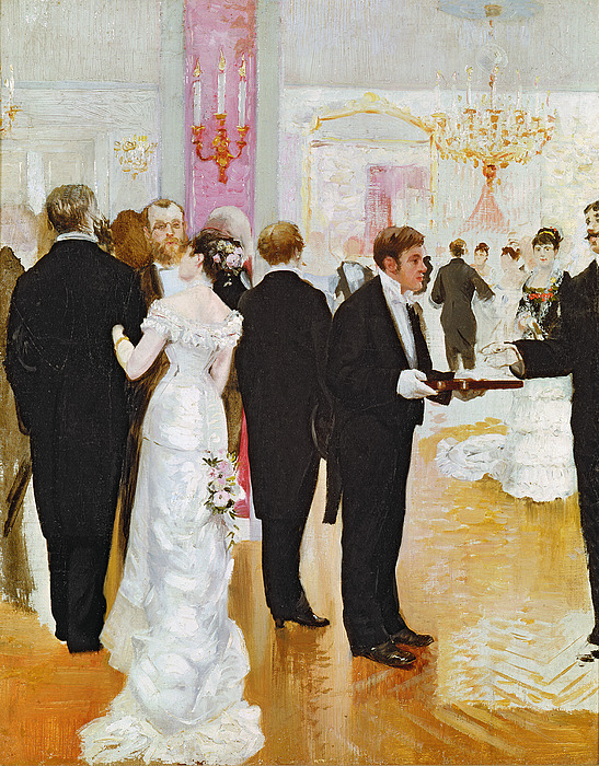 Dance Hall Painting - The Wedding Reception by Jean Beraud