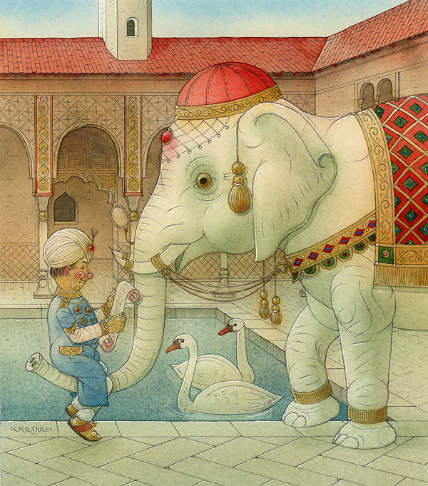 White Elephant Good Luck Fortune Water Swan Palace King Drawing - The White Elephant 07 by Kestutis Kasparavicius