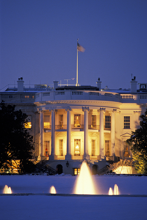 Outdoors Photograph - The White House South Portico At Dusk by Richard Nowitz