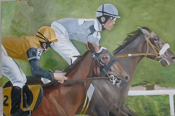 Horse Painting - The Winners by Lottiemae Littlefield