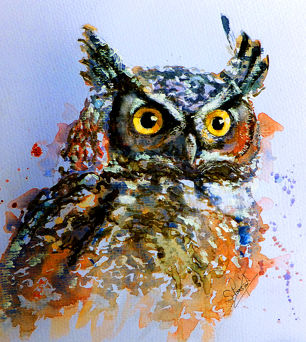 Owl Painting - The Wise Old Owl by Steven Ponsford
