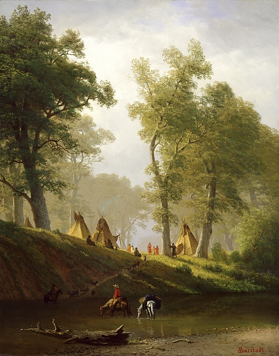 The Painting - The Wolf River - Kansas by Albert Bierstadt