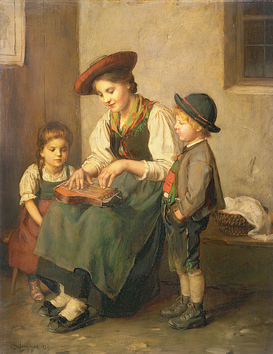 The Painting - The Zither Player by Franz von Defregger
