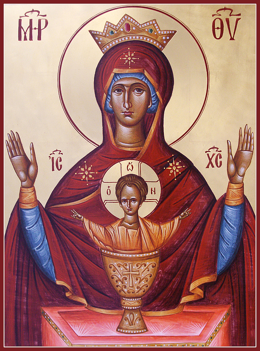 Icon Painting - Theotokos The Inexhaustable Cup by Julia Bridget Hayes