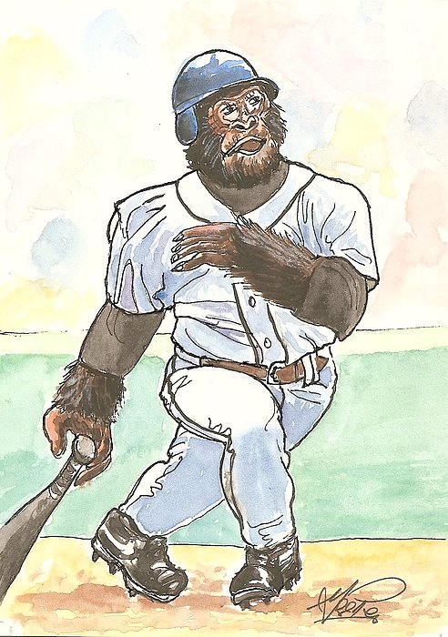 Baseball Painting - There It Is by George I Perez
