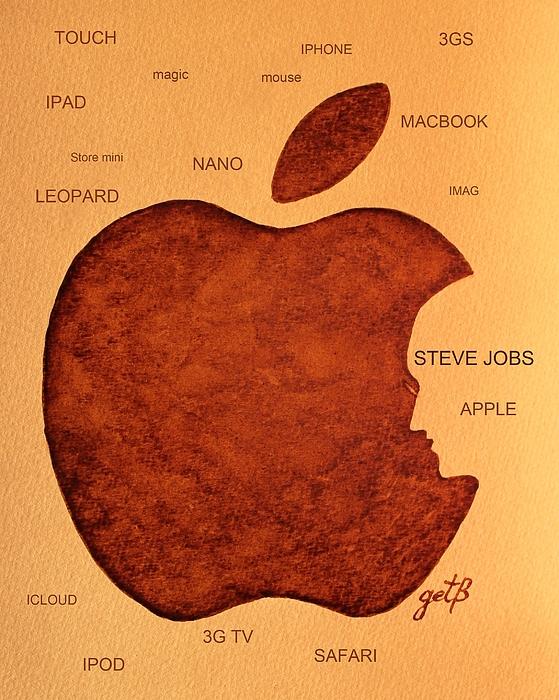 Steve Jobs Tribut Paintings Painting - Think Different Steve Jobs 2 by Georgeta  Blanaru