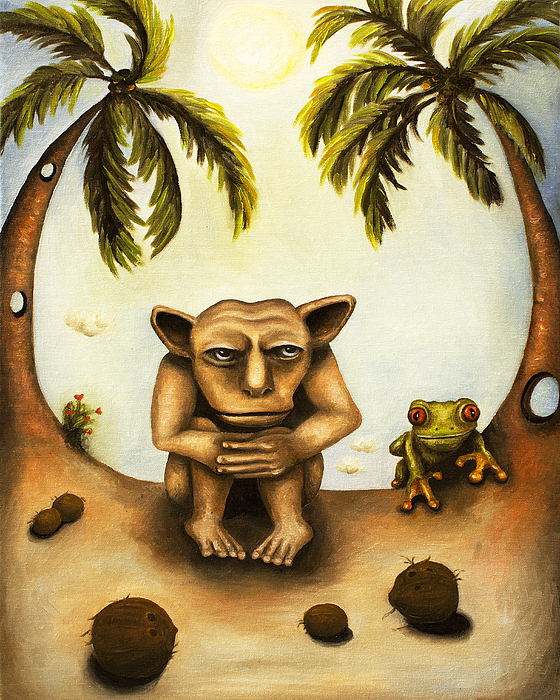 Gargoyle Painting - Thinking About Coconuts by Leah Saulnier The Painting Maniac