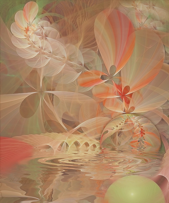 Fractal Digital Art - Thinking Of You by Gayle Odsather