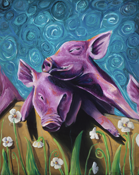 Pigs Painting - This Little Piggy by Julie Fernandez