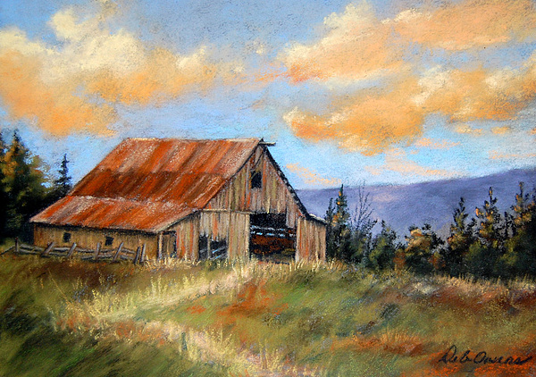 This old barn painting by deb owens lowe for Watercolor barn paintings