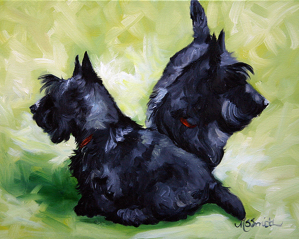 Dog Painting - This Way Or That  by Mary Sparrow