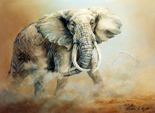 Africa Painting - Threat Charge by Kathleen V  Butts