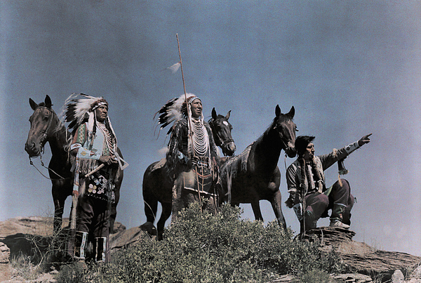 Day Photograph - Three American Indians On The Crow by Edwin L. Wisherd