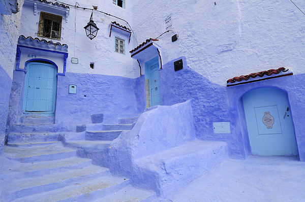Morocco Photograph - Three Blue Doors In Chefchaouen  by Liz Pinchen