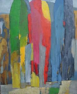 Red Painting - Three Bright Trees by Ludmila Kalinina