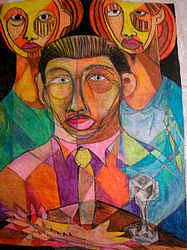 Cubism Painting - Three Children by Robert Daniels