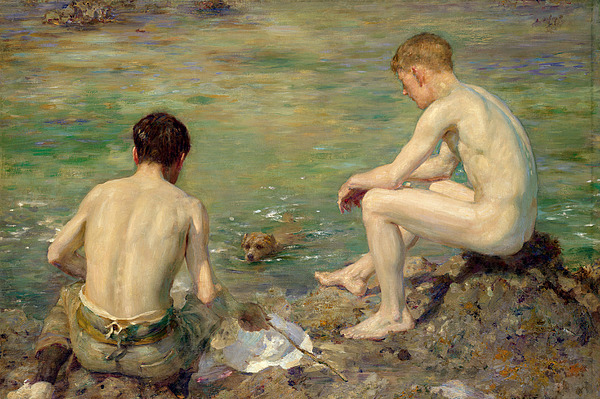Three Painting - Three Companions by Henry Scott Tuke