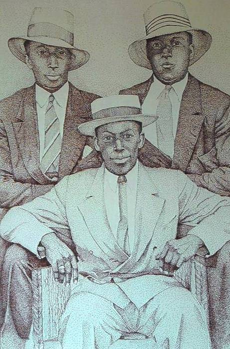 Portrait Drawing - Three Gentlemen by Leonard R Wilkinson