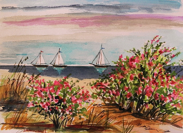 Sailing Painting - Three Heading Out by John Williams