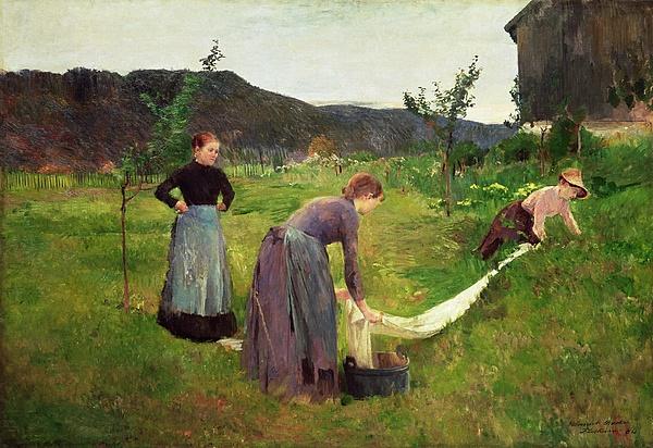 Three Painting - Three Ladies Washing by Harriet Backer
